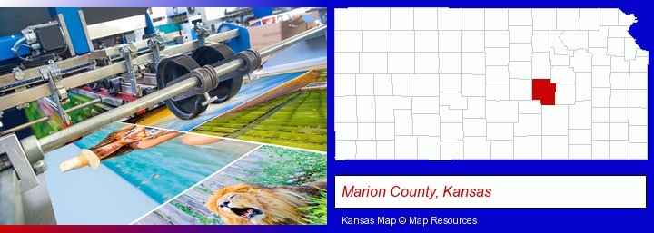 a press run on an offset printer; Marion County, Kansas highlighted in red on a map