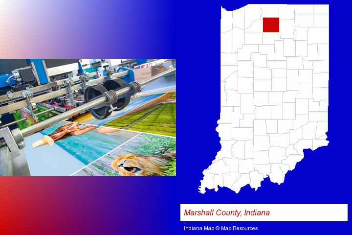 a press run on an offset printer; Marshall County, Indiana highlighted in red on a map