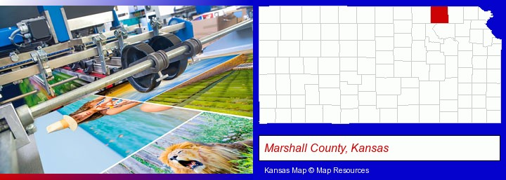 a press run on an offset printer; Marshall County, Kansas highlighted in red on a map