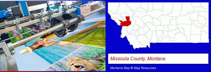 a press run on an offset printer; Missoula County, Montana highlighted in red on a map