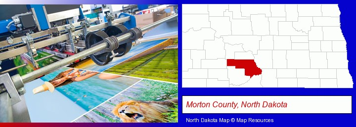 a press run on an offset printer; Morton County, North Dakota highlighted in red on a map