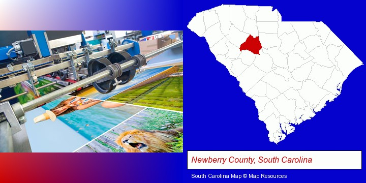 a press run on an offset printer; Newberry County, South Carolina highlighted in red on a map
