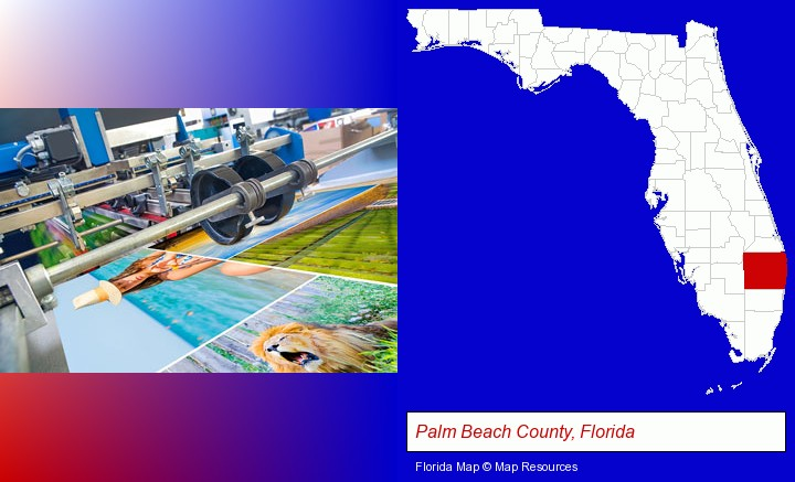 a press run on an offset printer; Palm Beach County, Florida highlighted in red on a map