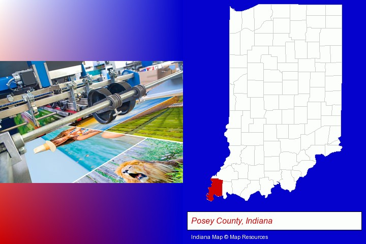 a press run on an offset printer; Posey County, Indiana highlighted in red on a map