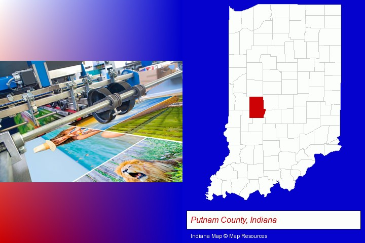 a press run on an offset printer; Putnam County, Indiana highlighted in red on a map