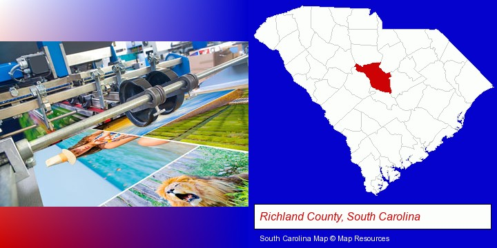 a press run on an offset printer; Richland County, South Carolina highlighted in red on a map