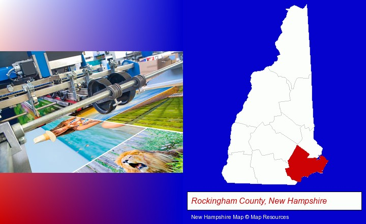 a press run on an offset printer; Rockingham County, New Hampshire highlighted in red on a map