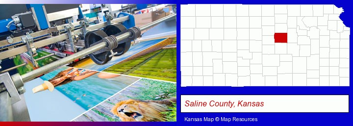 a press run on an offset printer; Saline County, Kansas highlighted in red on a map