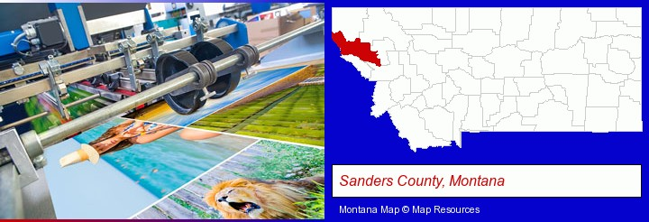a press run on an offset printer; Sanders County, Montana highlighted in red on a map