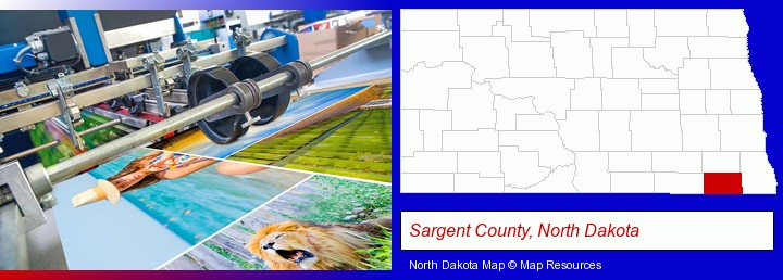 a press run on an offset printer; Sargent County, North Dakota highlighted in red on a map