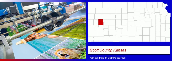 a press run on an offset printer; Scott County, Kansas highlighted in red on a map
