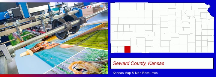 a press run on an offset printer; Seward County, Kansas highlighted in red on a map