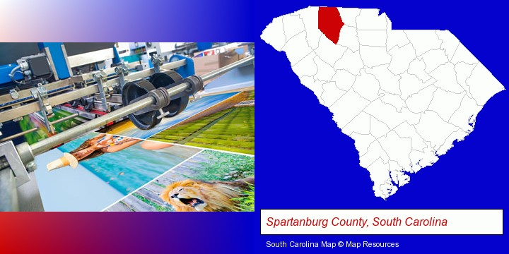a press run on an offset printer; Spartanburg County, South Carolina highlighted in red on a map