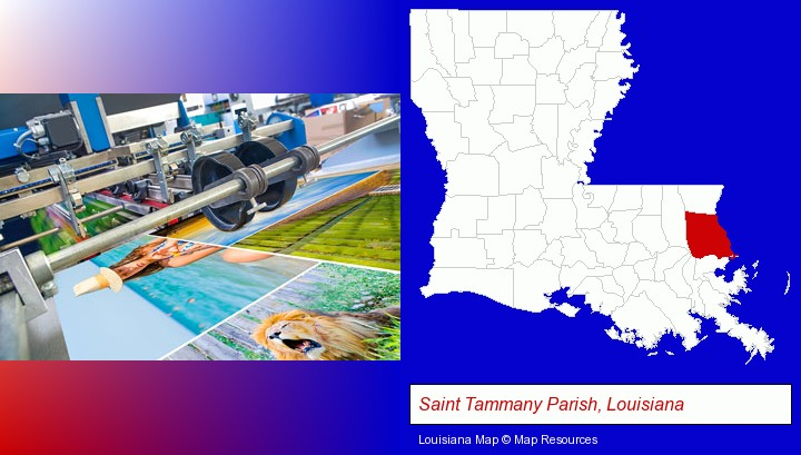 a press run on an offset printer; Saint Tammany Parish, Louisiana highlighted in red on a map