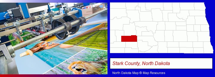 a press run on an offset printer; Stark County, North Dakota highlighted in red on a map
