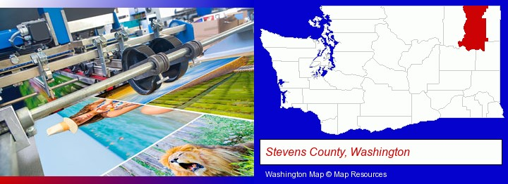a press run on an offset printer; Stevens County, Washington highlighted in red on a map