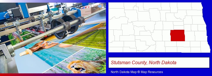 a press run on an offset printer; Stutsman County, North Dakota highlighted in red on a map
