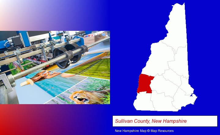 a press run on an offset printer; Sullivan County, New Hampshire highlighted in red on a map