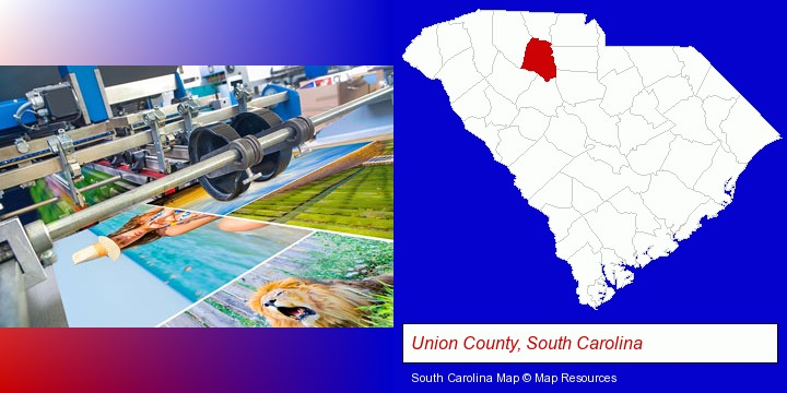 a press run on an offset printer; Union County, South Carolina highlighted in red on a map