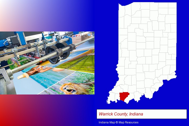 a press run on an offset printer; Warrick County, Indiana highlighted in red on a map