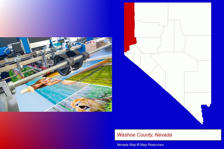 a press run on an offset printer; Washoe County, Nevada highlighted in red on a map
