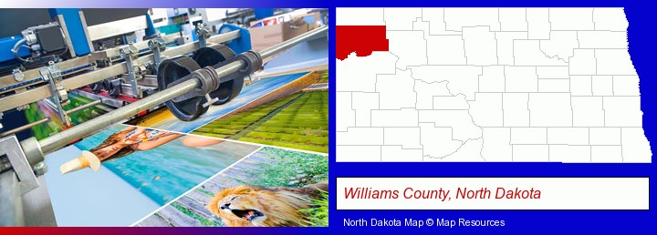 a press run on an offset printer; Williams County, North Dakota highlighted in red on a map