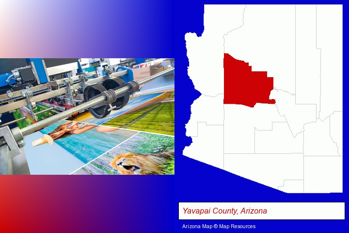 a press run on an offset printer; Yavapai County, Arizona highlighted in red on a map
